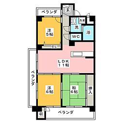 JINハイツ富田浜[4階]の間取り