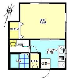 バス 夷本町下車 徒歩5分の賃貸アパート 1階1Kの間取り