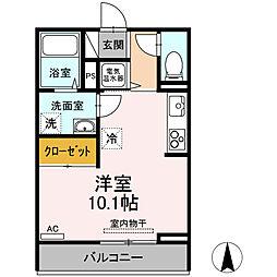 伊予鉄道高浜線 衣山駅 徒歩24分の賃貸アパート 2階ワンルームの間取り