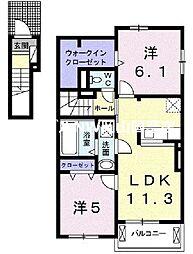 サンライズI 2階2LDKの間取り