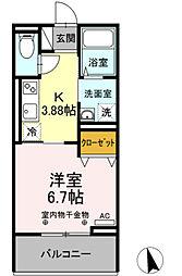 JR久大本線 久留米大学前駅 徒歩8分の賃貸アパート 3階1Kの間取り
