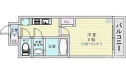 JR片町線(学研都市線) 鴫野駅 徒歩1分の賃貸マンション 9階1Kの間取り
