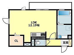 JR東海道本線 岡崎駅 徒歩24分の賃貸アパート 2階ワンルームの間取り