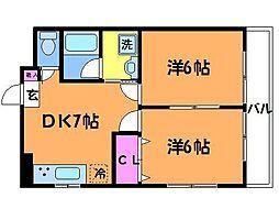 東京都調布市飛田給2丁目の賃貸マンションの間取り