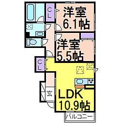 (仮)D-room鹿沼A 1階2LDKの間取り