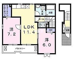 岡山県倉敷市真備町尾崎丁目なしの賃貸アパートの間取り