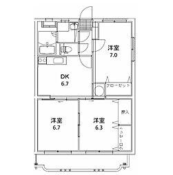 ユーミーマンション 松岡[202号室]の間取り
