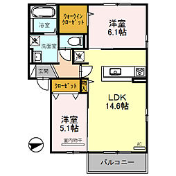 プランタン 3階2LDKの間取り