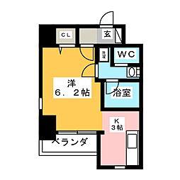 サクセス 2階ワンルームの間取り