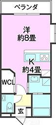 ウッディーハウス 3階1Kの間取り