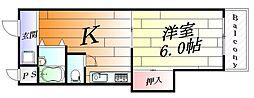 大阪府吹田市五月が丘東の賃貸マンションの間取り
