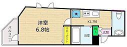 ピアコートTM中村橋弐番館 2階1Kの間取り