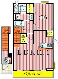 千葉県柏市西原1丁目の賃貸アパートの間取り