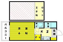 福岡県福岡市東区和白1丁目の賃貸アパートの間取り