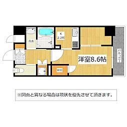 北九州都市モノレール小倉線 香春口三萩野駅 徒歩6分の賃貸マンション 7階1Kの間取り