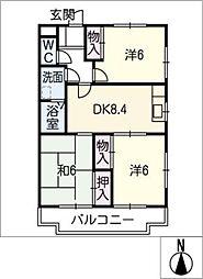 庄南ヒルズ B棟[2階]の間取り