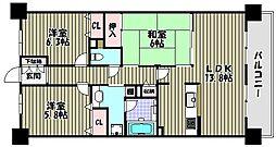 ライオンズマンション上野芝駅前[5階]の間取り