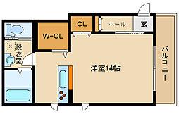 近鉄南大阪線 高見ノ里駅 徒歩1分の賃貸マンション 3階ワンルームの間取り