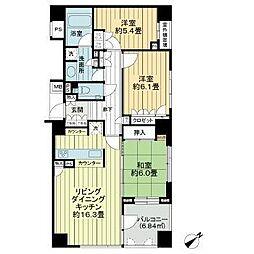 西武池袋線 江古田駅 徒歩8分の賃貸マンション 8階3LDKの間取り