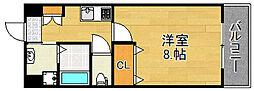 JR大阪環状線 野田駅 徒歩9分の賃貸マンション 4階1Kの間取り