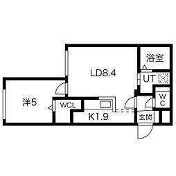 札幌市営南北線 幌平橋駅 徒歩8分の賃貸マンション 4階1LDKの間取り