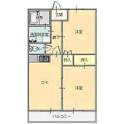 シープクレインマンション 3階2DKの間取り