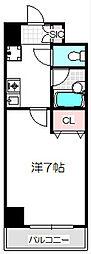 Osaka Metro谷町線 守口駅 徒歩7分の賃貸マンション 2階1Kの間取り