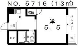 西田ハイツ天王寺[2階]の間取り