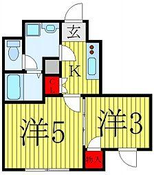 コンフォシード東坂下 1階2Kの間取り