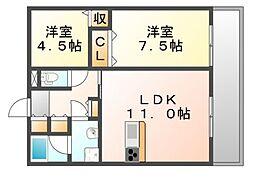 JR福塩線 神辺駅 徒歩5分の賃貸アパート 1階2LDKの間取り