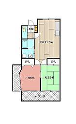 福岡県北九州市八幡西区岡田町の賃貸マンションの間取り