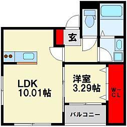 JR筑豊本線 若松駅 徒歩18分の賃貸アパート 3階1LDKの間取り