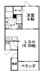 クレストIII 3階1LDKの間取り