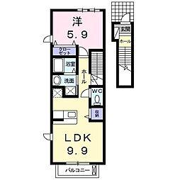 サン・フレイムYABE A棟[2階]の間取り