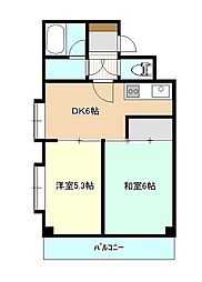 東京都東久留米市中央町5丁目の賃貸マンションの間取り
