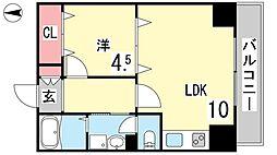 モアライフ住吉南 3階1LDKの間取り