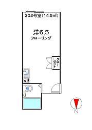 日野グリーンピース[302号室]の間取り