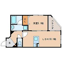 JR東海道本線 静岡駅 徒歩19分の賃貸マンション 4階1LDKの間取り
