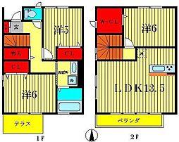 [テラスハウス] 千葉県松戸市三ヶ月 の賃貸【/】の間取り