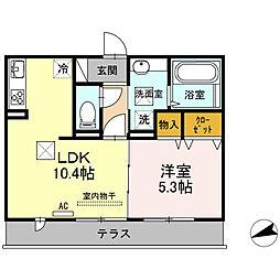 山口県下関市関西町の賃貸アパートの間取り