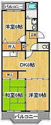 千葉県船橋市本中山7丁目の賃貸マンションの間取り