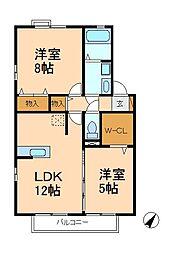 千葉県松戸市八ケ崎2丁目の賃貸アパートの間取り