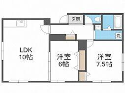 ベアーハウス 2階2LDKの間取り