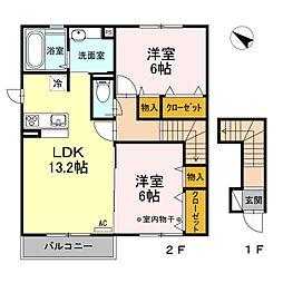JR身延線 国母駅 徒歩24分の賃貸アパート 2階2LDKの間取り