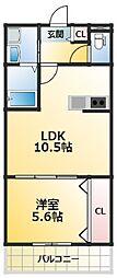 グランパシフィック大経大北 3階1LDKの間取り