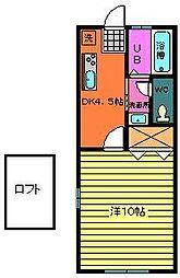茨城県神栖市大野原2丁目の賃貸アパートの間取り