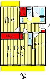 カーサ六高台[1B号室]の間取り