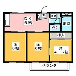 コーポカトレア[2階]の間取り