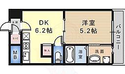 南海高野線 白鷺駅 徒歩7分の賃貸マンション 2階1DKの間取り