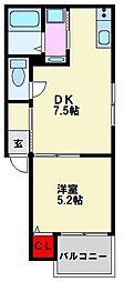 レディア井尻[1階]の間取り